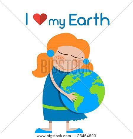 Little Girl Hug Globe Embrace Earth Day Love World Vector Illustration
