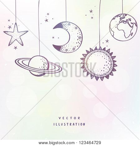 Beautiful of Moon Sun star Saturn and Earth. Vector illustration