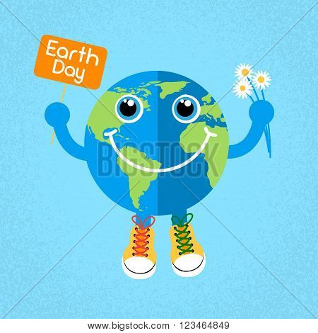 Earth Day Globe Wear Trainers Shoes Sneakers Hold Banner Flowers World Concept Flat Vector Illustration