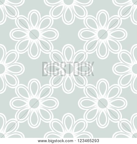 Floral ornament. Seamless abstract light blue background with fine white pattern