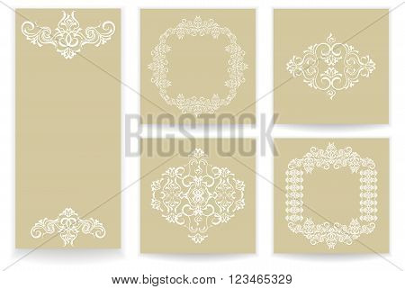 set of templates greetings invitations to the feast a wedding with an abstract pattern