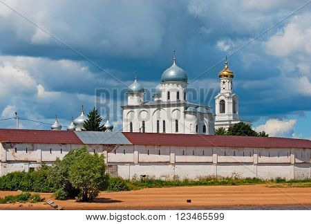 Veliky Novgorod. Russia. The St. George's (Yuriev) Monastery on the bank of The Volkhov River. Orthodox Yuriev male monastery is one of the oldest monastery in Russia.