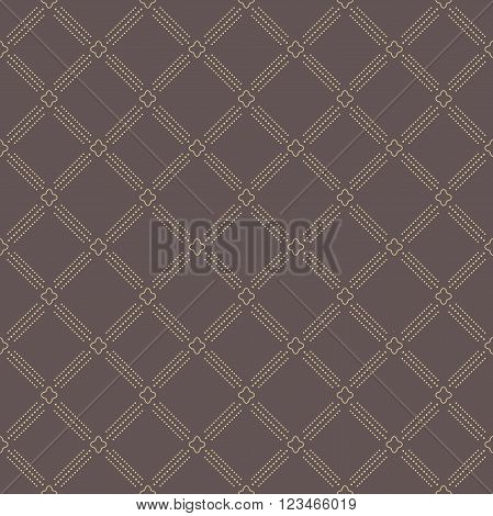 Geometric repeating brown and golden ornament with diagonal dotted lines. Seamless abstract modern pattern