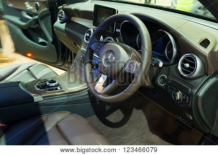 NONTHABURI - MARCH 23: Interior design of NEW Mercedes Benz GLC 250 d offroad on display at The 37th Bangkok International Motor show on MARCH 23, 2016 in Nonthaburi, Thailand.