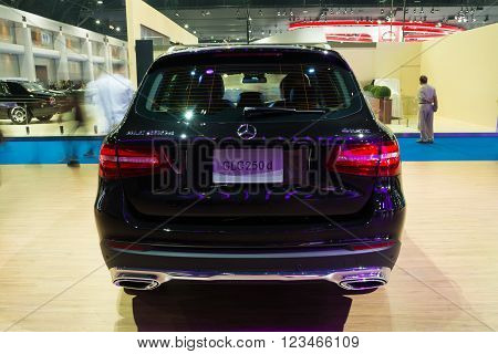 NONTHABURI - MARCH 23: NEW Mercedes Benz GLC 250 d offroad on display at The 37th Bangkok International Motor show on MARCH 23, 2016 in Nonthaburi, Thailand.