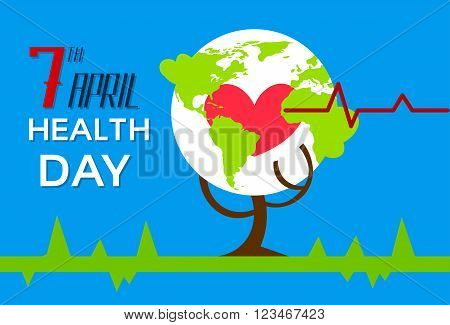 Health World Day Tree With Globe Red Heart Shape Beat Cardiology Flat Vector Illustration
