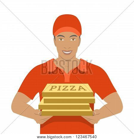 Pizza delivery boy holding cardboard boxes. Vector flat illustration. African American handsome friendly young man in a red T-shirt and uniform cap. Express delivery concept isolated on white