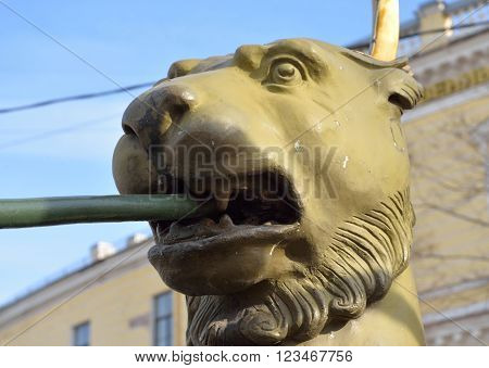 Griffon sculpture of Bank bridge in St.Petersburg Russia.