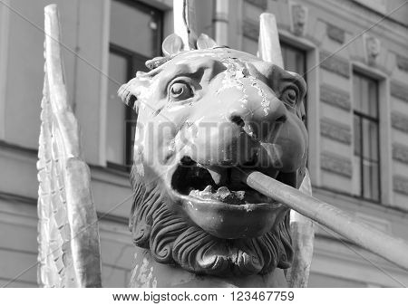 Griffon sculpture of Bank bridge in St.Petersburg Russia. Black and white.