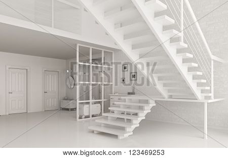 Interior of white entrance hall with staircase 3d rendering
