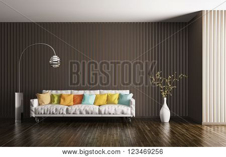 Modern interior of living room sofa cushions floor lamp plant 3d rendering