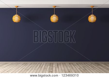 Interior Backgroundwith Three Lamps 3D Rendering