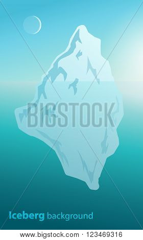 Iceberg background water arctic landscape snowy frost. Vector.