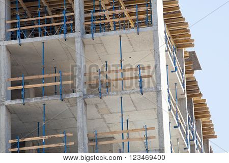 Monolithic frame construction of the building. The framework for the walls. Formwork for walls made of concrete. Construction of the building. Masonry walls and aerated concrete masonry walls
