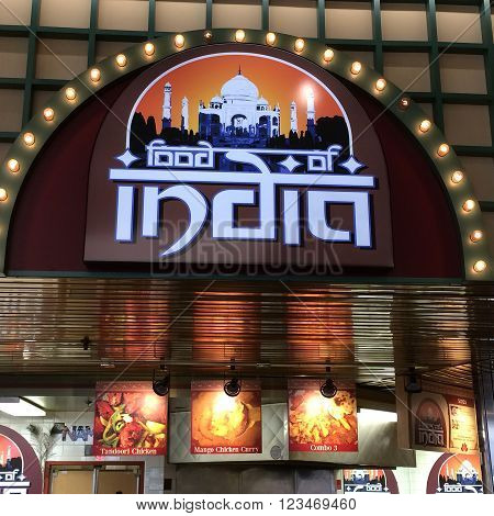 RIVER FALLS,WISCONSIN-MARCH 28,2016: The Food of India restaurant sign. Indian cuisine encompasses a wide variety of regional cuisines native to India.