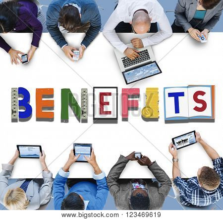 Benefits Advantage Assets Bonus Wages Concept