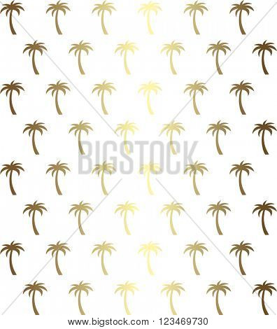 Palm tree seamless pattern in gold