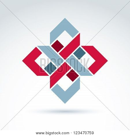 Bright Complex Geometric Corporate Element. Vector Abstract Emblem With Squares And Symmetric Figure