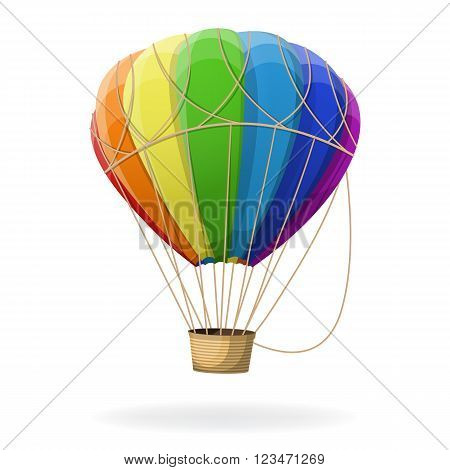 Hot air balloon in rainbow colors isolated. Vector illustration