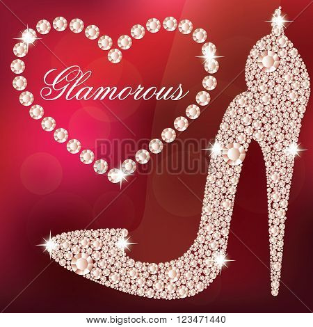 Glamour design elements. Elegant ladies high heels shoe shape, made with shiny diamonds. And heart frame. Isolated on the red blurred background. Vector illustration.