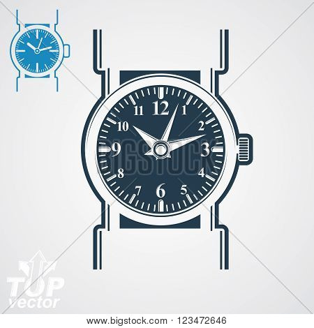 Vector wristwatch illustration elegant detailed quartz watch with dial and an hour hand. Retro strap watch symbolic timepiece. Web business design element, time idea.