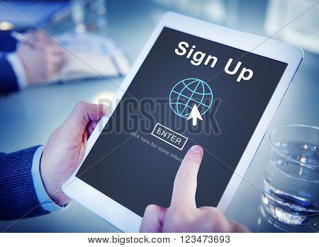 Sign Up Register Join Applicant Enroll Enter Membership Concept