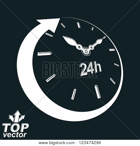 3d vector 24 hours clock black and white illustration. Day-and-night dimensional stylized symbol. Twenty-four hours a day conceptual design element.