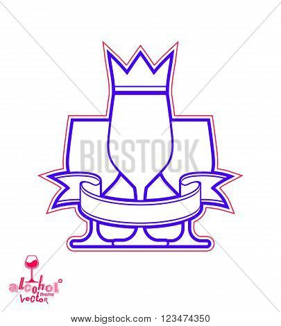 Simple classic vector three goblets with curvy ribbon and king crown royal ball and celebration theme illustration. Lifestyle graphic design elements - entertainment idea.