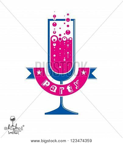 Simple vector champagne party goblet with bubbles and festive ribbon. Alcohol beverage graphic design element, anniversary celebration idea sparkling wine illustration.