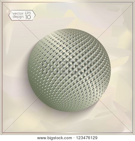 3d sphere with Halftone-Effect in the background on a bokeh fog background