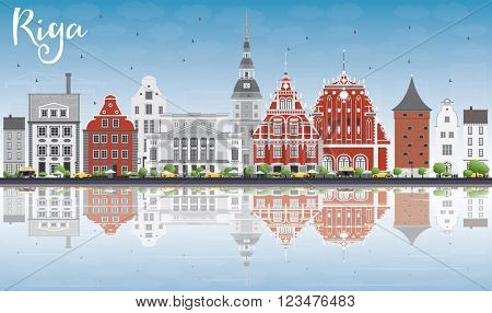 Riga Skyline with Landmarks, Blue Sky and Reflections. Vector Illustration. Business Travel and Tourism Concept with Historic Buildings. Image for Presentation Banner Placard and Web Site.