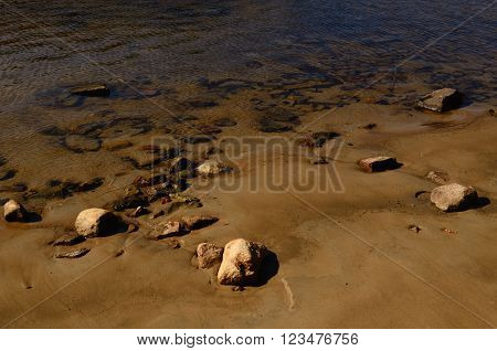 Sandy Lake Bottom with Stones seen in Water on the Sandbank