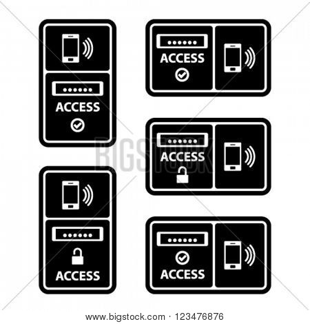 vector smartphone nfc access panel black symbol