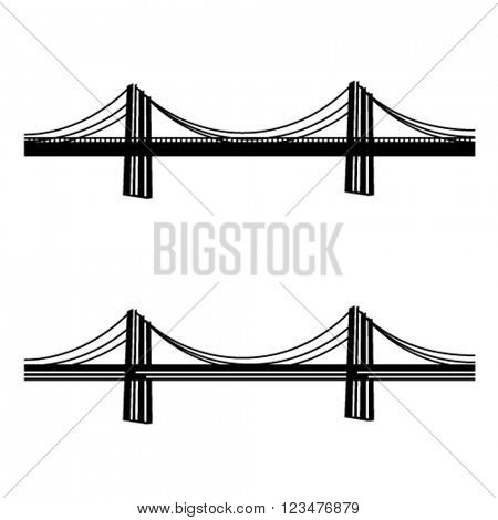 vector metal cable suspension bridge black symbol