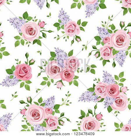 Vector seamless pattern with pink roses and purple lilac flowers on a white background.
