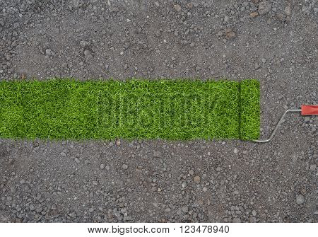 A strip of green grass made by roller for painting on a ground with small stones. Planting of greenery.