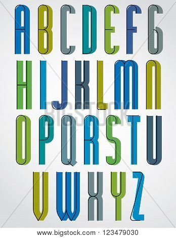 Colorful stylish narrow font upper case alphabet letters.