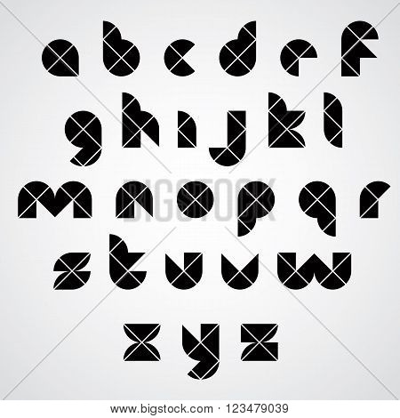 Digital style simple geometric font made with rhombuses vector modern alphabet. Sans serif lowercase letters vector set.