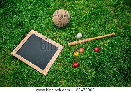 School blackboard, football, ball and baseball, bat. school,set of play.