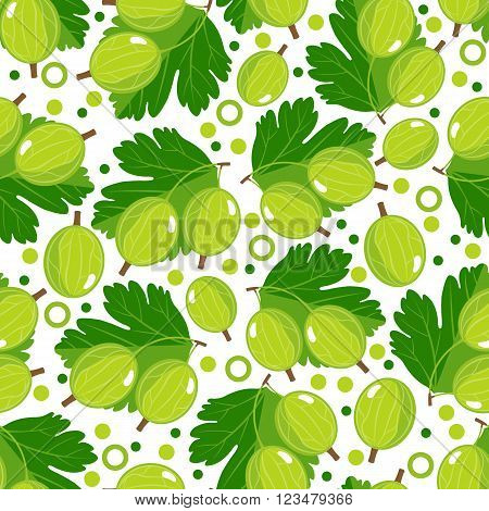 Seamless pattern with gooseberry. Design for paper or textile. Berries on white background. Vector illustration