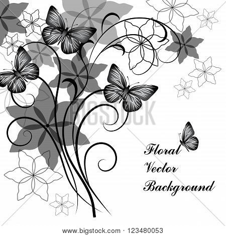 Beautiful floral background with butterflies in black and white style for greeting card or invitation design.