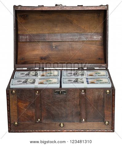 Old open chest filled with stacks of bundles of 100 US dollars isolated on white background.