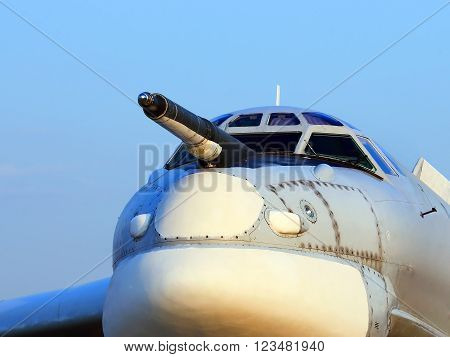 MOSCOW REGION  -   AUGUST 26 2015: Nose of the bomber with device for measuring speed of jet   -  on August 26, 2015 in Moscow region