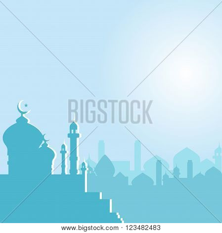 Mosque with Crescent moon at dawn in vector