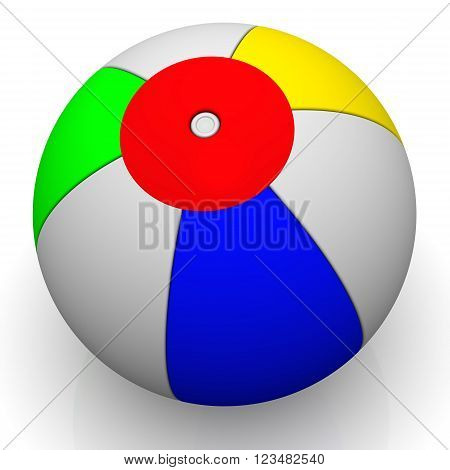 Children's multi-colored ball on a white surface. Play game sport beach color round sphere summer activity balloon air. Isolated. 3D illustration