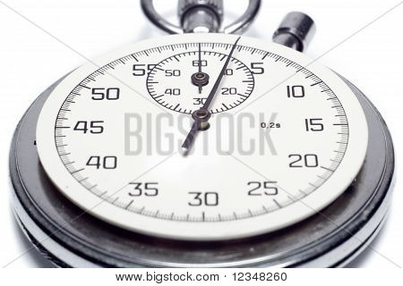The Image Of A Stop Watch Counting The Seconds, Isolated, On A White Background