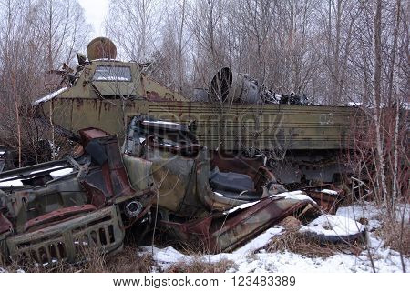 abandoned radioactive vehicles took part in the liquidation of Chernobyl disaster