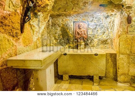 BETHLEHEM PALESTINE - FEBRUARY 18 2016: The bass-relief of St. Jerome in the cave under the Church of the Nativity on February 18 in Bethlehem.