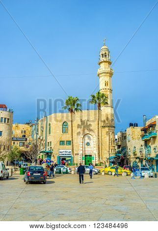 BETHLEHEM PALESTINE - FEBRUARY 18 2016: The Mosque of Omar is the only mosque in the city centre on February 18 in Bethlehem.