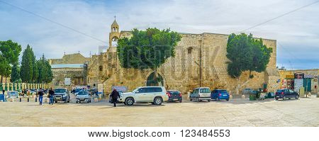 BETHLEHEM PALESTINE - FEBRUARY 18 2016: The Church of the Nativity is the main landmark and the holiest place in the city on February 18 in Bethlehem.